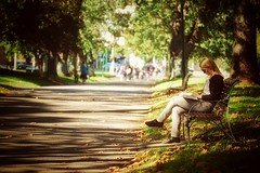 Reading in the Park (koaysusan) Tags: park trees leaves reading bokeh outdoor depthoffield lightandshadow