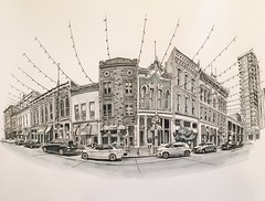 Larimer Square, Denver (paul heaston) Tags: art architecture artwork drawing markers winsornewton