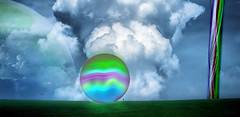 More photoplay - abstract (seeviewer) Tags: world sky abstract green grass clouds photoshop flying colorful purple object orb fantasy mysterious huge marble photoplay