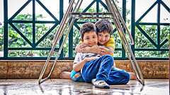 Baby Arsh & his friend (fahd.b.iqbal) Tags: new portrait people selfportrait reflection green june forest portraits landscape photography outdoor sony indoor oldschool dhaka alpha bangladesh hdr gulshan indoorphotography hdrphotography a6300