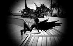 Untitled (Forever, Angel) Tags: blackandwhite beach relaxing beachlife secondlife secondlife:z=23 secondlife:x=205 secondlife:y=117 secondlife:region=birdisland secondlife:parcel=bustysbeachislandsbritishtropicalparadise
