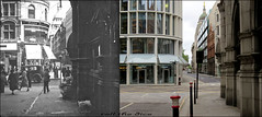 Pageantmaster Court`1930-2016 (roll the dice) Tags: london city squaremile ludgate thameslink ludgatehill old rail trains oldandnew pastandprersent hereandnow local history changes collection tourism canon sad mad ec4 stpauls alley bank boozer wine beer bollards closed demolished vanished court guilty piazza uk art classic urban england hopebrothers ww2 blitz bombs construction bygone retro nostalgia justice keltbray cafe cojean newludgate public architecture streetfurniture mizuhogroup landsecurities colours whitevan traffic people busy flowers wet puddle windows glass reflection