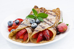 crepes with fresh berries and chocolate sauce (cook_inspire) Tags: morning red summer food white cooking closeup fruit breakfast stuffing dessert cuisine wooden healthy strawberry berry dish sweet sauce eating chocolate background traditional seasonal mint fresh sugar gourmet delicious blueberry health bakery snack meal pastry pancake crepes filling baked nutrition blini