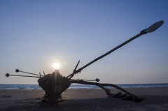 Aachra Beach (kailas bhopi) Tags: beach sunset silhouette boat konkan sky