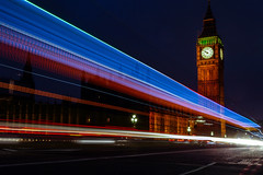 Streaking Benjamin (kaimonster) Tags: street longexposure greatbritain vacation england london clock night outdoor bigben clocktower lighttrails streaking