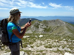 Facebooking on the summit of Monte del Passeggio (markhorrell) Tags: walking lazio apennines montiernici