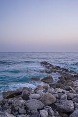 Remains of the old pier (aleksey_kondratiev) Tags: turkey fethiye oludeniz mediterranean sea water blue wave waves seashore rocks sky sunset pier