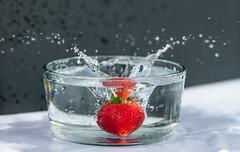 Splashing Freshness (Newcl) Tags: red summer juicy strawberry sweet tasty splash refreshing chill freshness fragrance cooling splashes
