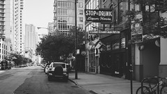 { STOP & DRINK } { Explored 6.20.16 } (Web-Betty) Tags: street city urban blackandwhite signs chicago illinois bnw neonsigns