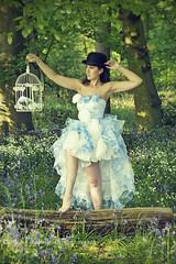 DSC_7176 sbp lo res (missjojo101) Tags: model woodland woods female femalemodel lincolnshire countryside country concept bowler bowlerhat hat dress fashion brunette birdcage summer sun tree