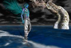 Visit to Preiddeu Annwn (niki wirefly) Tags: male dark landscape wings sl fairy fantasy secondlife fairey niki fae