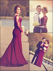 Mermaid Prom/Evening Dress - Burgundy Sweetheart Sweep Train Appliques (provencelavender) Tags: train dress burgundy homecoming sweetheart mermaid sweep appliques promevening