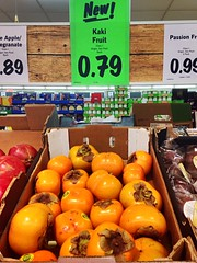 Kaki fruit (JulieK (had forgotten what hard work puppies are)) Tags: ireland irish sign fruit advertising funny mallow lidl hss hww kakifruit iphone5