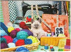 Crafty (Leonisha) Tags: cat chat yarn puzzle katze sewingmachine jigsawpuzzle wolle nhmaschine