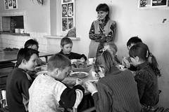 Dining room (Mikael Good) Tags: russia ryssland boardingschool special orphans orphan orphanage photojournalism photojournalist photography photojournalistic childhood children youth mikaelgood reporter dining room swedish barnhem barnhemsbarn ryska ryssar russians specialskola stpetersburg blackandwhite monochrome