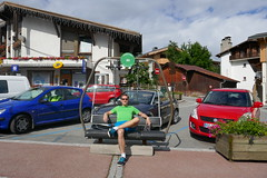 old chairlift equipment makes GREAT public benches (eikzilla) Tags: france alps combloux