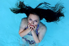 The Siren (Claire Louise Gravenhorst) Tags: blue portrait blackandwhite white black water self