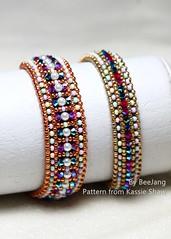Crystal Inclusion (BeeJang - Piratchada) Tags: beadweaving beadwork beading bronze gold pink blue white pearl swarovski bicone crystal miyuki bracelet bangle jewelry handmade