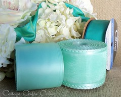 Aqua and Mint shades (CottageCraftsOnline) Tags: aqua turquoise mint satin charisma sheer contessa sheerribbon truquoise weddingribbon wiredribbon paleaqua craftribbon decorribbon lightmintgreen