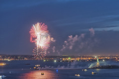 NY Harbor Wednesday Night.  May 2013 (Jay Fine) Tags: sky seascape landscape boats evening fireworks smoke statueofliberty nyharbor