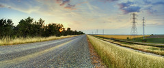Country Road (Panoramic) (Sam Saechao) Tags: road sunset panorama field skyline landscape countryside panoramic powerline 1855mm countryroad yubacity ricefiled butteslough nikond5100