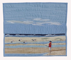 Fishing at the River Mouth (bekahdu) Tags: art beach fishing quilt textile fiber fibre