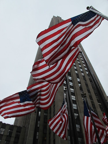 America flags in Rockefeller Center for Memorial Day