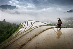 A farmer on Longji Rice Terrace by Woosra Kim (print247toronto) Tags: camera digital photography photographer photos pics edited professional editor pixels 500px