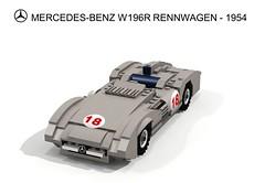 Mercedes-Benz W196R Rennwagen - 1954-55 (lego911) Tags: auto sports car race one mercedes benz championship moss model track lego juan stirling render champion f1 manuel mercedesbenz formula challenge daimler cad racer lugnuts 68 povray monza moc ldd renn fangio miniland w196 slipstreamer w196r abakersdozen lego911