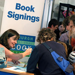 Julia Donaldson signs books for young fans at the 2004 Edinburgh International Book Festival