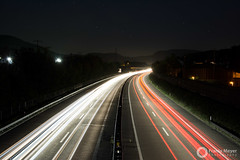 Autobahn at night (FranioM) Tags: longexposure light sky color night dark star highway colorful exposure motorway nacht strasse autobahn freeway brake expressway superhighway strase schnellstrasse