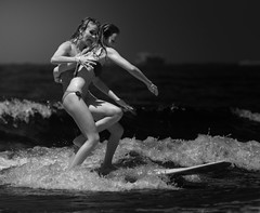 Tandem Surf (McSnowHammer) Tags: girls bw ir fun mono wave surfing bikini longboard infrared roxy biarritz swimwear