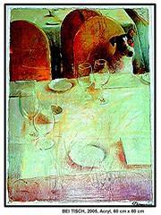 fr ein Restaurant: BEI TISCH (CHRISTIAN DAMERIUS - KUNSTGALERIE HAMBURG) Tags: orange berlin rot silhouette modern strand deutschland see licht stillleben dock gesicht meer wasser fenster rume hamburg herbst felder wolken haus technik portrt menschen container gelb stadt grn blau ufer hafen fluss landungsbrcken wald nordsee bume ostsee schatten spiegelung schwarz elbe horizont bilder schiffe ausstellung schleswigholstein frhling landschaften wellen huser krne rapsfelder flche acrylbilder hamburgermichel realistisch nordart acrylmalerei acrylgemlde auftragsmalerei bilderwerk auftragsbilder kunstausschreibungen kunstwettbewerbe galerienhamburg auftragsmalereihamburg cdamerius hamburgerknstler malereihamburg kunstgaleriehamburg galerieninhamburg acrylbilderhamburg virtuellegaleriehamburg acrylmalereihamburg