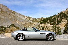 BMW Z8, French Alps. (Rev426) Tags: road uk blue trees red sky mist holiday paris france mountains alps annecy classic car st pine dinner silver french lunch drive james vineyard cool haze italian scenery europe soft desert wine weekend top champagne wheels fast convertible route alpine german views stunning bmw napoleon bond parked spotted rue casse tyres 007 rheims z8 veran v354fmp altbmwz8