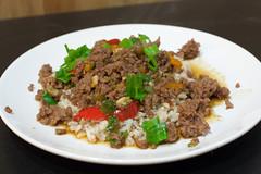Korean Beef (_Hoot) Tags: recipe ginger sauce beef onions korean peppers soysauce greenonions maplesyrup sesameoil groundbeef tamari redchile freshginger grassfedbeef