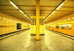 Yellow U-Bahn station, Berlin (Sallyrango) Tags: city urban berlin station yellow train germany underground subway bahnhof tiles ubahn deutshland weberweise