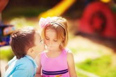 Sunny kisses (Lucistaya) Tags: boy party summer portrait sunlight cute love girl sunshine kids toddler kiss posing brightcolors magicmoments postprocessing plainair alenamironova