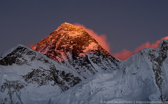Burning Everest Mt. Peak (8848 m) (Arsenii Gerasymenko) Tags: nepal sunset mountain snow ice dawn mt top peak climbing summit lhotse sagarmatha everesthimalaya