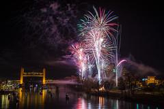 Happy New Year 2014 (mrperry) Tags: california bridge reflection water night towerbridge river boats lights pyramid fireworks smoke nye newyears sacramento ziggurat sacramentoriver westsacramento 2014 newyears2014 nye2014