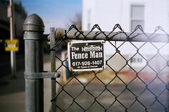 The Fence Man (bmiller128) Tags: film massachusetts cambridgema cambridgeport leicam3 summaron35mmf28 kodakportra160