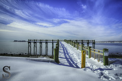 Snow covered Pier at Gulf Beach- (Singing With Light) Tags: morning ice beach fog photography pier gulf pentax january 8 february k3 2014 ctwinter gulfbeach miilford lismanlanding singingwithlight singingwithlightphotography