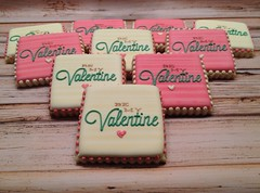 Valentine's 2014 (Artfully Delicious Cookies) Tags: pink love cookies hearts cookie heart teal stripes valentine creme valentines valentinesday bemine uploaded:by=flickrmobile flickriosapp:filter=nofilter