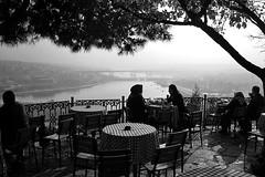 Turkey - Istanbul (luca marella) Tags: people bw panorama white black film blackwhite cafe women pb bn bianco nero eyup halic pierreloti marellaluca caffèpierrelotikahvesi louismariejulienviaud