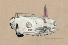 Panhard Dyna Junior (Flaf) Tags: auto brown car museum pencil vintage paper florian crayon goliath coloured dortmund freie panhard automuseum flaf afflerbach zeichnerei