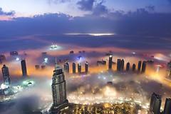Dubai Sunrise (oilyragg) Tags: city sunset mist fog night clouds sunrise buildings long exposure dubai landmark khalifa burj d600