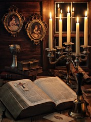 Bell, Book and Candle (memoryweaver) Tags: stilllife dark book candles candle bell gothic bible candlelight candelabra chalice leatherbound memoryweaver
