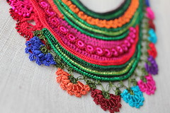 statement fiber necklace - freeform crochet - magenta pink, red, green, orange, blue - beaded colorful flowers by irregular expressions (irregular expressions) Tags: orange necklace purple turquoise crochet jewelry cotton wearableart fiberart fiber beaded brightred textileart seedbeads rainbowcolors emeraldgreen beadednecklace indigoblue freeformcrochet crochetflower artwear beadedflower delicabeads crochetnecklace crochetjewelry crochetlace glassseedbeads beadedcrochet crochetart textilejewelry cottonthread fiberjewelry lacenecklace magentapink cottonfiber irregularexpressions bibnecklace statementnecklace fibernecklace beadworknecklace textilenecklace statementjewelry oversizednecklace