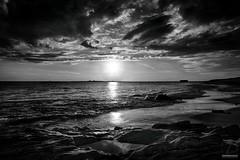 La Roche Seche - N&B (DENISDROUAULT) Tags: ocean sunset sea sky mer france nature rock french brittany bretagne breizh ciel morbihan paysages hdr rocher coucherdesoleil jimages wildcoast erdeven eascape borderfx canon5dmiii denisdrouault