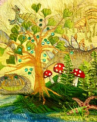Evolution (Squatbetty) Tags: tree leaves dinosaur embroidery colourful clever toadstools keighley cliffecastle naomiparker