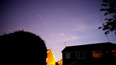 ISS 30/5/2016 (purpleface) Tags: longexposure houses sky tree clouds photoshop stars aerial nighttime hedge astronomy jupiter stacked iss lightpollution